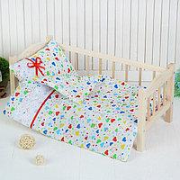 Постельное бельё для кукол 'Сердечки', простынь, одеяло, подушка