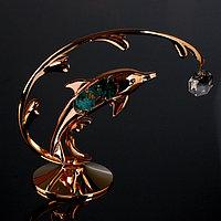 Сувенир с кристаллами Swarovski 'Дельфин на волне' 14х12,5 см