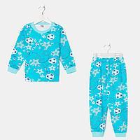 Пижама для мальчика, цвет голубой/футбол, рост 140 см