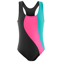 Купальник для плавания сплошной 'Волна', тёмно-серый/розовый /лагуна, размер 42