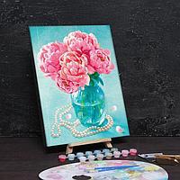 Картина по номерам без подрамника 'Пионы в вазе' с фольгой, 30 х 40 см