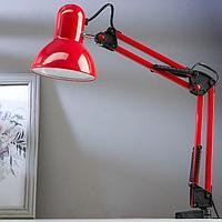 Лампа настольная Е27, h55 см, шарнирная, на зажиме (220В) красная