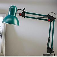 Лампа настольная Е27, h55 см, шарнирная, на зажиме (220В) зеленая
