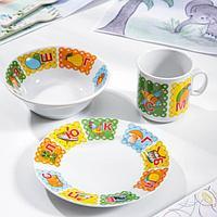 Набор посуды 'Азбука', 3 предмета кружка 200 мл, салатник 360 мл, тарелка мелкая 17 см