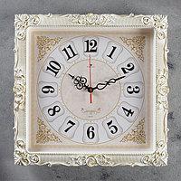 Часы настенные, серия Классика, 'Барака', белое золото, 38х38 см