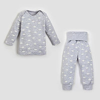 Комплект джемпер, брюки Крошка Я 'Облака', серый, рост 74-80 см