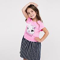 Платье для девочки, цвет розовый/синий, рост 104 см