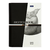Тетрадь-скетчбук А5, 80 листов на гребне Black White, твёрдая обложка, блок 100 г/м, с пошаговыми эскизами