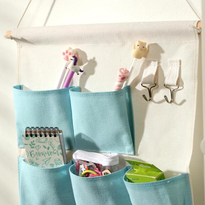 Органайзер с карманами подвесной 'Мишка', 6 отделений, 60x35 см, цвет голубой - фото 3