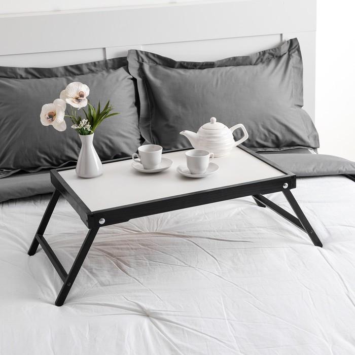 Столик для завтрака 'Ренессанс', 60 х 40 см, массив ясеня, цвет черный - фото 1