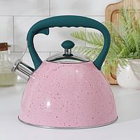 Чайник со свистком Доляна 'Тропики', 3 л, цвет розовый