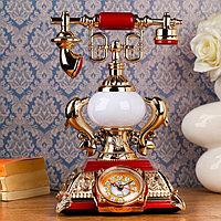 Часы-светильник настольные 'Ретро телефон' с будильником, 28.5х18х18 см