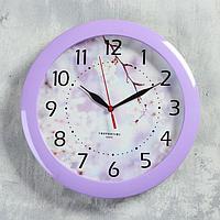 Часы настенные, серия Цветы, 'Цветущее дерево', сиреневый обод, 29х29 см