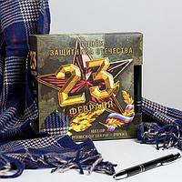 Набор 'С Днём защитника Отечества!', теплый шарф (195х35 см) и ручка