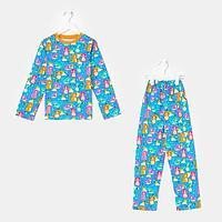Пижама для девочки, цвет синий/кошки, рост 116 см