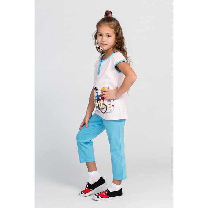 Комплект (футболка, брюки) для девочки, цвет голубой/розовый, рост 116-122 см (34) - фото 2