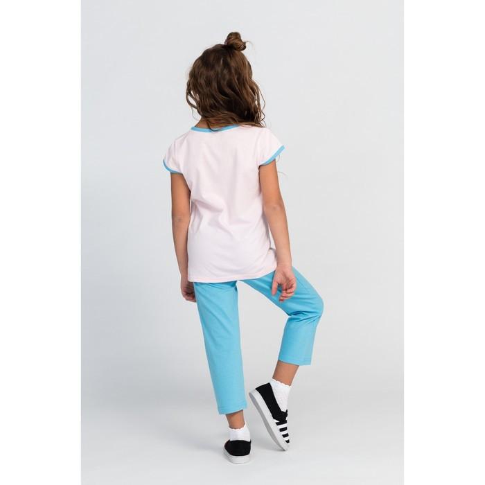 Комплект (футболка, брюки) для девочки, цвет голубой/розовый, рост 116-122 см (34) - фото 3