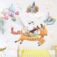 Наклейка пластик интерьерная цветная 'Летающий олень со зверятами' 60х90 см