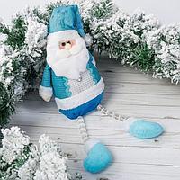 Мягкая игрушка 'Дед Мороз в колпаке с оленями' 12*50 см синий