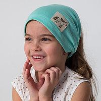 Косынка для девочки, цвет мятный/единорог, размер 54-58