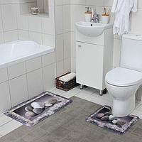 Набор ковриков для ванны и туалета Доляна 'Камушки', 2 шт 45x70, 39x45 см