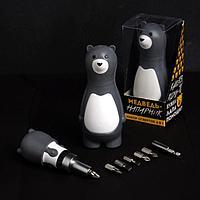 Подарочный набор инструментов 'Медведь-напарник', подарочная упаковка, набор бит 7 шт, держатель для бит