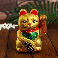 Сувенир 'Кот Манэки-нэко', цвет золото