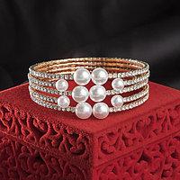Браслет с жемчугом 'Иллюминация', цвет белый в розовом золоте,d5,8см