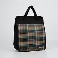 Сумка хозяйственная, отдел на молнии, наружный карман, цвет чёрный/зелёный