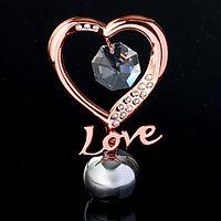 Сувенир с кристаллами Swarovski 'Элегантное сердце Love' 8,3х5,1 см