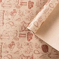 Бумага упаковочная крафт 'Мишки', 0,72 х 10 м, 70 г/м