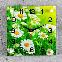 Часы настенные, серия Цветы, 'Ромашки' стекло 25х25 см, микс