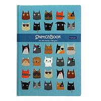 Бизнес-блокнот (скетчбук) А5, 80 листов Cats, твёрдая обложка, блок 100 г/м