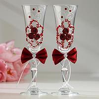 Набор свадебных бокалов 'Восторг', с лепниной, бисером и бантами, бордовый