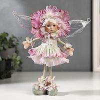 Кукла коллекционная керамика 'Малышка-цветочек, сиренево-зелёный наряд' 30 см