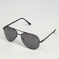 Очки солнцезащитные 'Авиаторы', оправа чёрная, дужки вставка рифлёная, линзы поляризационные, чёрные