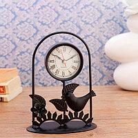Часы настольные 'Синичка', 17х12 см, циферблат d-5.5 см, 1 ААА,