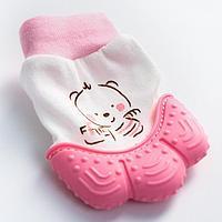 Прорезыватель рукавичка 'Девочка в шапочке', цвет розовый