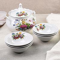 Набор для пельменей 'Букет цветов', 7 предметов ваза для супа 3 л, 6 мисок 600 мл