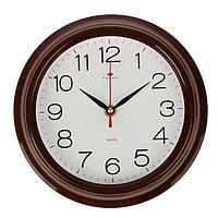 Часы настенные 'Классика', 'Рубин', коричн. обод 21х21 см