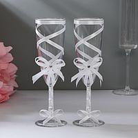 Набор свадебных бокалов для битья с лентой, 0.2 л, 2 шт., белый
