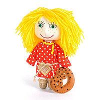 Набор для изготовления игрушки из льна и хлопка с волосами из пряжи 'Домовёнок', 15,5 см