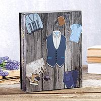 Фотоальбом на 200 фото 10х15 см 'Мужской гардероб' в коробке, об.элемент МИКС 26х20,5х5,5 см 46288