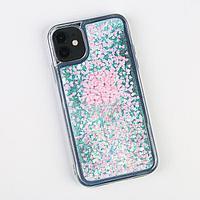 Чехол для телефона iPhone 11 с блёстками внутри Flower, 7.6 x 15.1 см