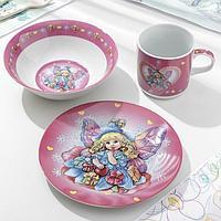 Набор детской посуды Доляна 'Дюймовочка', 3 предмета кружка 230 мл, миска 400 мл, тарелка 18 см