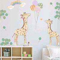 Наклейка пластик интерьерная цветная 'Жирафики и воздушные шары' набор 2 листа 30х90 см