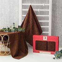 Набор полотенец Этель 'Для любимой' 2 шт (70*130, 50*90 см) шоколад, 100хл, 360 гр/м2