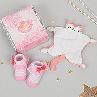 Комфортер для новорождённых 'Мой первый подарок', пинетки, кошечка
