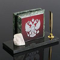 Набор настольный 'Герб на красном фоне', змеевик
