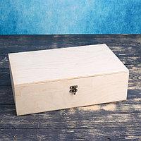 Подарочный ящик 34x21.5x10.5 см деревянный, с закрывающейся крышкой, без покраски